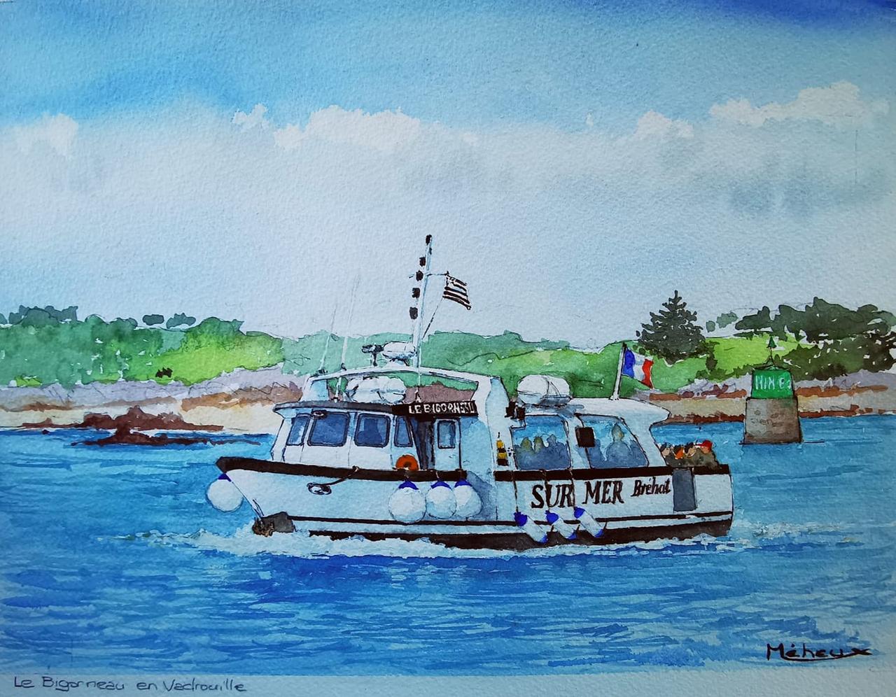 Le Bigorneau en vadrouille, par René MEHEUX, dessinateur, Île-de-Bréhat