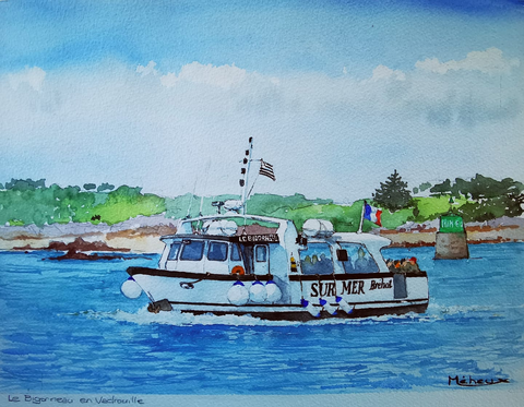 Aquarelle Bigorneau Sur Mer Bréhat